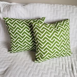 Green Zigzag Organic Cotton Throw Pillow Covers